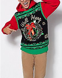 Light Up Well Hung Ugly Christmas Sweater Vest
