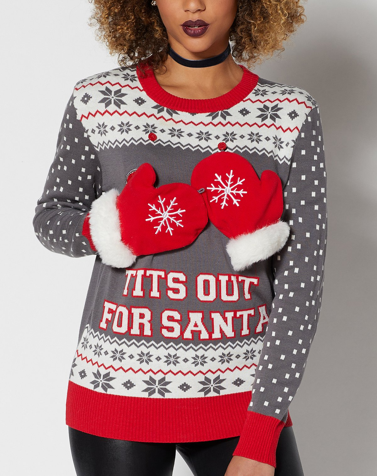 Spencer's Tits Out For Santa Ugly Christmas Sweater
