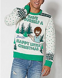 light up bob ross ugly christmas sweater