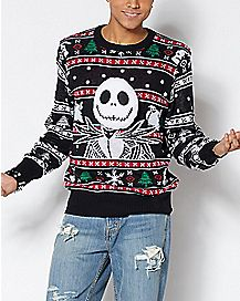 jack skellington ugly christmas sweater the nightmare before christmas - Metal Band Christmas Sweaters