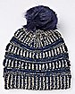 Faux Fur Navy and Gold Pom Beanie Hat