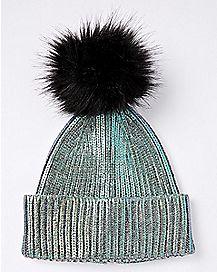 Faux Fur Mermaid Foil Pom Beanie Hat