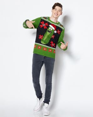 Pickle Rick and Morty Ugly Christmas Sweater
