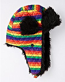 Rainbow Striped Trapper Hat