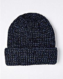 Navy Marled Cuff Beanie Hat