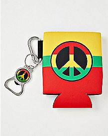 Rasta Peach Sign Can Cooler and Bottle Opener