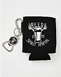 Beer Is My Spirit Animal Can Cooler and Bottle Opener