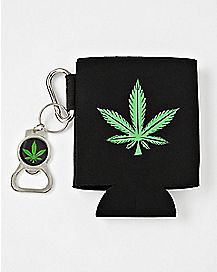 Pot Leaf Can Cooler and Bottle Opener