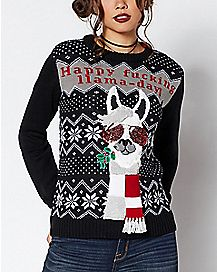 happy fucking llama day ugly christmas sweater - Misfits Christmas Sweater