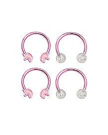 Multi-Pack Glitter Unicorn Horseshoe Rings 2 Pair - 16 Gauge