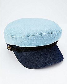Two-Toned Denim Captain Hat