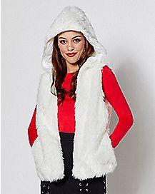 Faux Fur White Light Up Vest