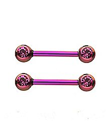 Plated CZ Nipple Barbells - 14 Gauge