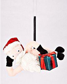Plush Naughty Santa Ornament With Sound