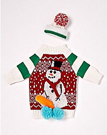 Snowman Wine Bottle Ugly Sweater