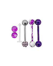 Multi-Pack CZ Purple Barbells with Extra Balls - 14 Gauge