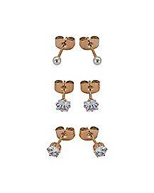 CZ and Pearl-Effect Stud Earrings - 3 Pair
