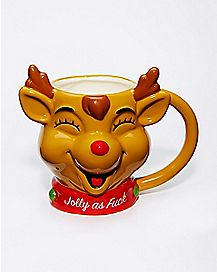 Jolly As Fuck Reindeer Coffee Mug - 16 oz.