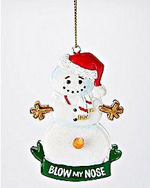 Blow My Nose Snowman Christmas Ornament