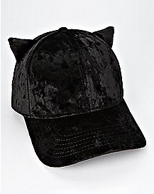 Black Velvet Cat Ear Dad Hat
