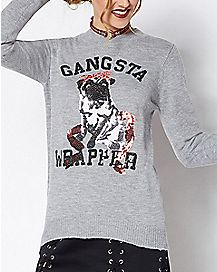Sequin Gangsta Wrapper Pug Ugly Christmas Sweater