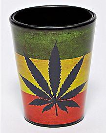 Rasta Weed Leaf Shot Glass - 1.5 oz.