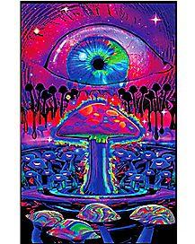 Mushroom Blacklight Poster