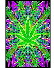 Weed Leaf Blacklight Poster