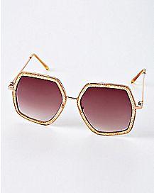 Hexagon Glitter Sunglasses