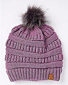 Purple Faux Fur Pom Beanie Hat