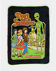 Don't Talk To Strangers Alien Sherpa Fleece Blanket - Steven Rhodes