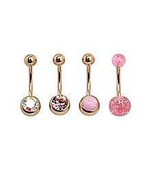 Rosegold Plated Opal-Effect CZ Belly Rings 4 Pack - 14 Gauge