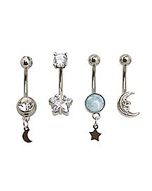 Multi-Pack Star Moon CZ Dangle Belly Rings 4 Pack - 14 Gauge