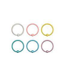 Multi-Pack Pastel Hoop Nose Rings 6 Pack - 20 Gauge