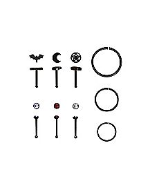 CZ Multi-Pack Stud & Hoop Nose Rings 20 Gauge - 9 Pack