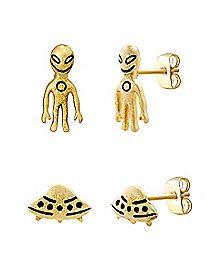 Goldplated Alien UFO Stud Earrings - 2 Pair