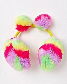 Faux Fur Rainbow Pom Earmuffs