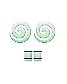 Glow in the Dark Spiral Tapers and Plugs - 2 Pack