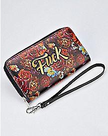 Floral Fuck Zip Wallet