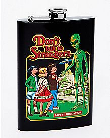 Don't Talk To Strangers Alien Flask 8 oz. - Steven Rhodes