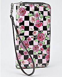 Floral Checkered Zip Wallet