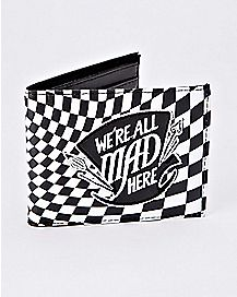 Checkered We're All Mad Here Bifold Wallet - Alice in Wonderland