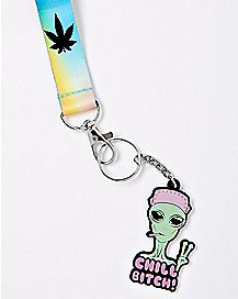 Alien Weed Leaf Chill Bitch Lanyard