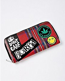 Patched Plaid Weed Leaf Zipper Wallet
