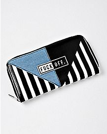 Denim Striped Fuck Off Zipper Wallet