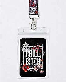 Floral Chill Bitch Lanyard