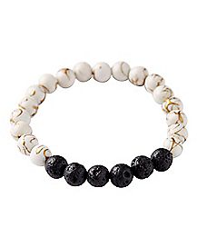White Marble Lava Rock Bracelet