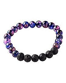 Purple Marble Lava Rock Bracelet
