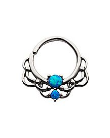 Opal-Effect Scalloped Clicker Septum Ring - 16 Gauge