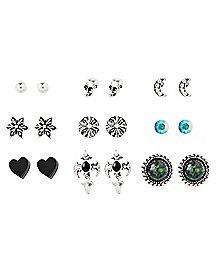 Multi Shape Stud Earrings - 9 Pair